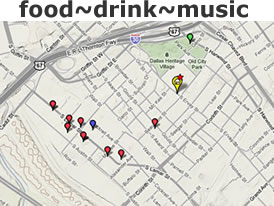Food drink music - area map